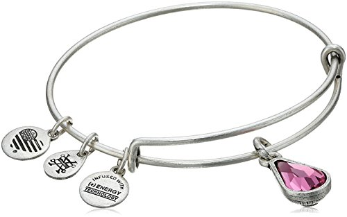 Alex and Ani October Birth Month Charm with Swarovski Crystal Rafaelian Silver Bangle Bracelet