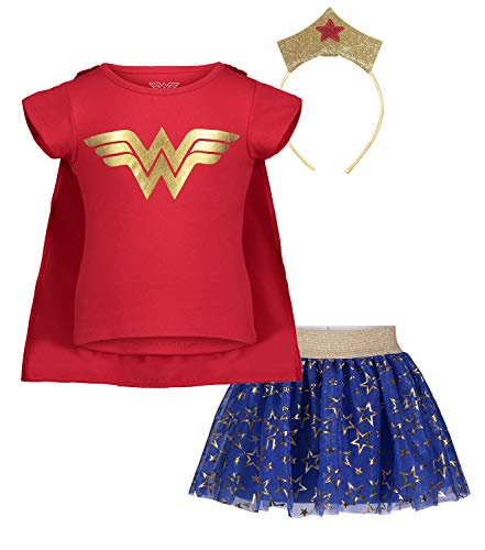 (953165WNT) Wonder Woman Toddler Girls' Updated Costume Dress with Gold Tiara Headband and Cape, Red in Red, 3T]()