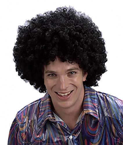 MA ONLINE Ladies Novelty Black Curly Afro Wig Mens Fancy Dress 80s Disco Party Accessory One Size ()