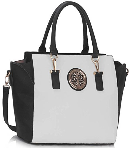 Bags Large Shoulder Tote Leather Luxury Faux Black Design Ladies New Womens Designer 1 New Handbags Style White Look wvx8q