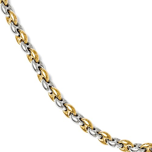 Sterling Silver & Gold Tone 6mm Two Tone Anchor Chain Bracelet, 7 Inch
