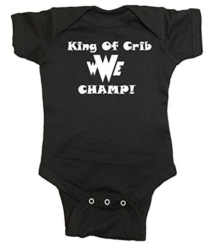 WWE Baby Onesie ''King Of The Crib'' Bodysuit (12 Month, Black) by NorthStarTees