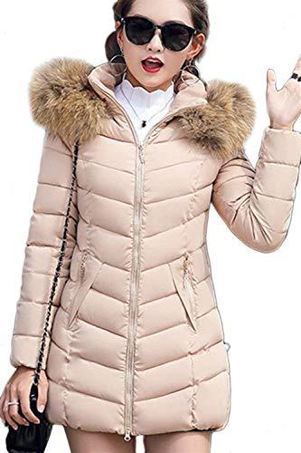 D'hiver Capuchon Élégant Parka Manteau Survêtement Chaud Beige Manteau Zipper Fourrure Avec Femmes À Chaud Long Épaissir Manteau De Chaud H5q4B