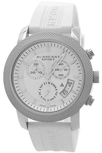 Burberry Sport Swiss Chronograph Watch Unisex Women Men Utilitarian White Rubber Silicone Band Date Dial BU7767