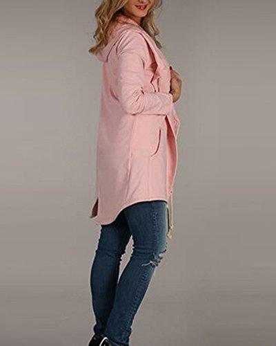 Loose Pink Felpa Top Cappotto Con Giacca Cappuccio Cardigan Oversize Donna Tasca Con RHwwPOYxq