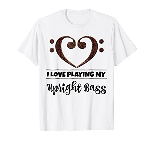 Double Bass Clef Heart I Love Playing My Upright Bass T-Shirt