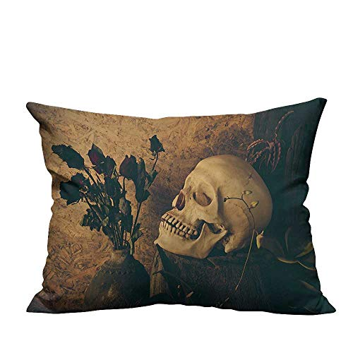 - YouXianHome Sofa Waist Cushion Cover Human Skull with Dead Dried Roses in The Vase Style Bourgeois Decorative for Kids Adults(Double-Sided Printing) 20x35.5 inch