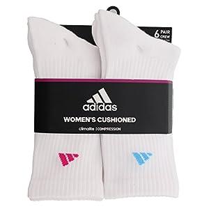 adidas Women's Athletic Crew Socks (6 Pack), White/Shock Pink/Glow Orange/Shock Purple, Medium