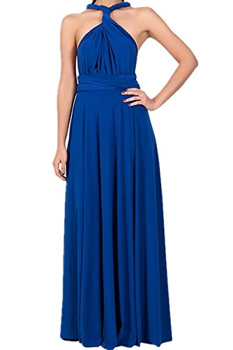 PARTY LADY Women's Halter Neck Sleeveless Vintage Wedding Maxi Long Dress Size S Sapphire