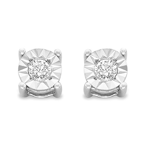Wedding Tdw Diamond Round Ring (Sterling Silver .10ct. TDW Round-Cut Diamond Miracle-Plated Stud Earrings (J-K,I3) (White))