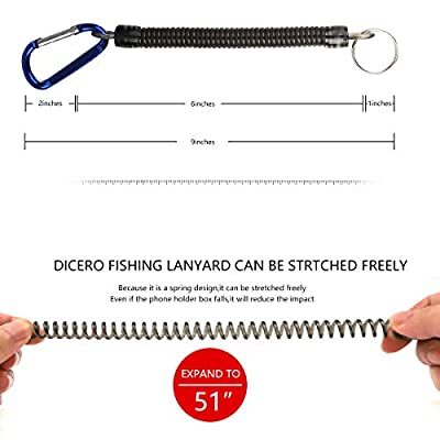 Dicero Fishing Lanyard (Pack of 12) Accessories Plastic Retractable Coiled Tether with Carabiner for Pliers Lip Grips Tackle Fish Tools