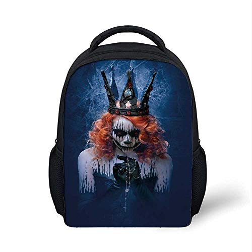 Queen Stylish Backpack,Queen of Death Scary Body Art Halloween Evil Face Bizarre Make Up Zombie for School Travel,9.4