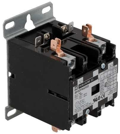 (2 Pole, 40 Amp Inductive Load, 208 to 240 Coil VAC at 60 Hz and 220 Coil VAC at 50 Hz, Definite Purpose Contactor)