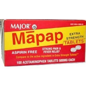 Mapap Extra Strength Tablets, 500mg, 100ct (4 PACK) -  MAJOR PHARMACEUTICALS, 253617