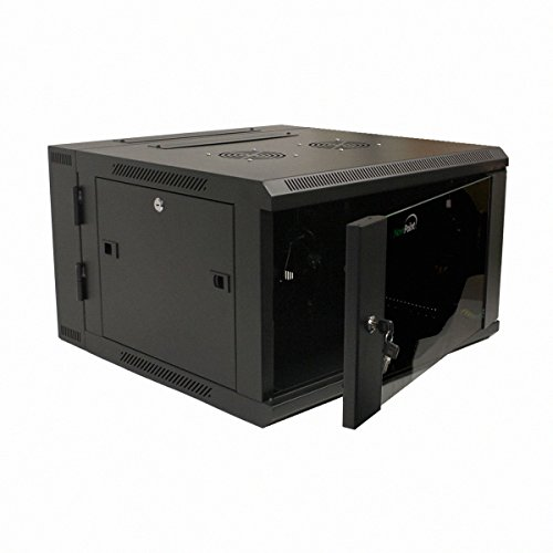 Network Wall Mount (NavePoint 6U Wall Mount Double Section Hinged Swing Out Server Network Rack Cabinet Lock)