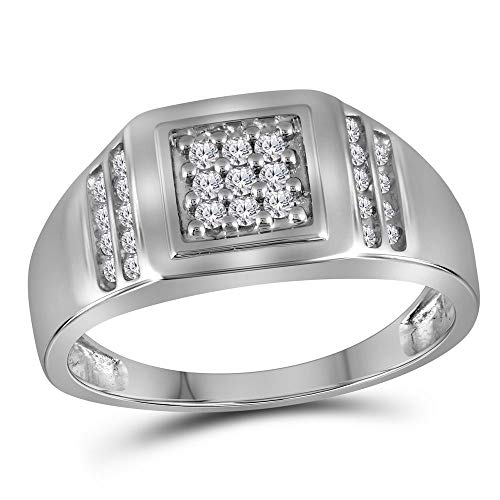 (The Diamond Deal 10kt White Gold Mens Round Diamond Square Cluster Ring 1/4 Cttw)