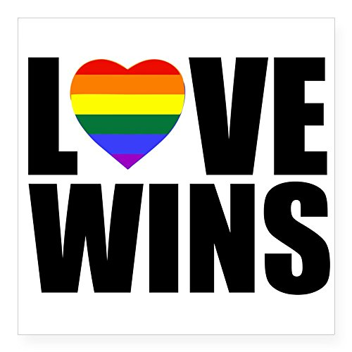 - CafePress Love Wins! Sticker Square Bumper Sticker Car Decal, 3