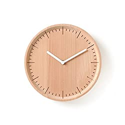 Pana Objects METER Wooden Wall Clock Round Shaped for Housewarming Wall Decorative Clocks (White, Circle)