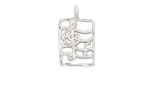 Sterling Silver Girls .8mm Box Chain Treble Clef Pendant Necklace