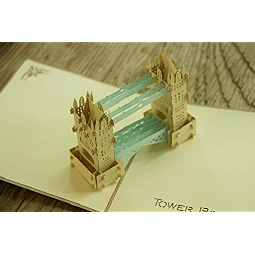 MADE4U Tower Bridge The Kirigami Papercraft 3D Pop Up Card Anniversary Baby Birthday Easter Halloween Mother's Sales