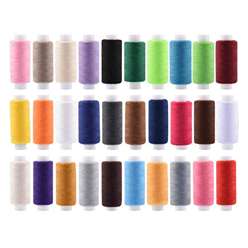 All Purpose Quilting Thread 30 Spools Polyester Sewing Thread Sets for Quilting Serger Overlock Embroidery All Purpose Connecting Threads for Sewing Machine and Hand Repair Works