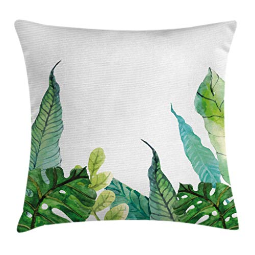 """Ambesonne Leaf Throw Pillow Cushion Cover, Watercolor Hand Drawn Style Print Panda Banana Fragipani Tropical Trees Exotic Leaves, Decorative Square Accent Pillow Case, 20"""" X 20"""", White Green"""