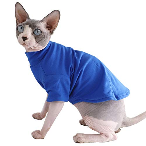 Sphynx Cat Clothes Winter Thick Cotton T-Shirts Double-Layer Pet Clothes, Pullover Kitten Shirts with Sleeves, Hairless…