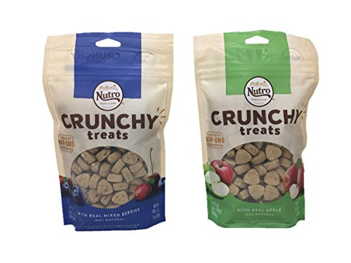 Nutro Feed Clean Crunchy Dog Treats, Bundle of 2 Flavors, Real Mixed Berries and Real Apple, 10oz each