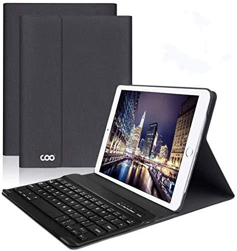 iPad Keyboard Case 9.7 for New iPad 2018 (6th Gen) - iPad Pro 2017 (5th Gen) - iPad Air 2/1 - COO Detachable Wireless Bluetooth Keyboard - Magnetic Auto Sleep/Wake (Black with Black Keyboard)