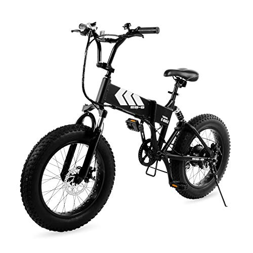 Swagtron EB-8 Outlaw Fat Tire Electric Bike - Foldable Off-Road Fat eBike 20-inch Wheels with Power Assist, Freehub and Shimano 7-Speed Gear Shifts, Black, Large