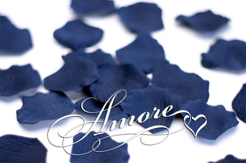 (200 Wedding Silk Rose Petals Navy Blue 2 inch Wide)