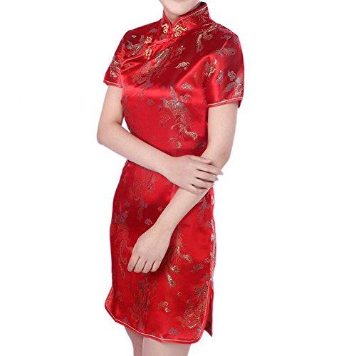 Hee Grand Damen China Cheongsam Kleid Abendkleid Partykleid Rot ...
