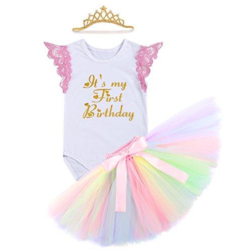 ea103b67ec9fb Cake Smash Outfits Newborn Baby Girls It's My 1st Birthday Unicorn ...