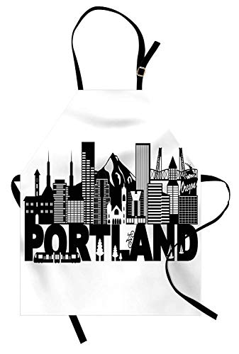 VCFUN Portland Adjustable Bib Aprons, Famous Landmarks in Oregon State Buildings Mount Hood and Hawthorne Bridge Women/Men Kitchen Apron with Extra Long Ties for Chef Cooking Baking, Large