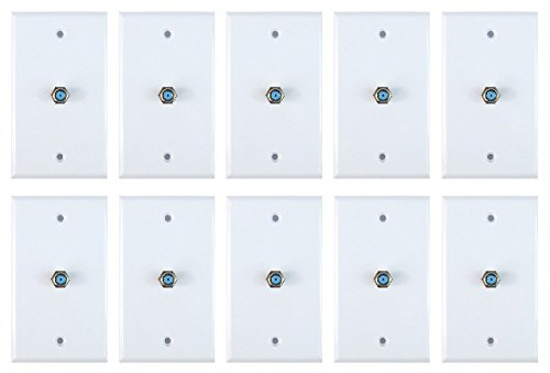 Coax Wall Plate - 10pcs 1 Port Satellite Wall Plate Dish Aproved RCA Coax Cable Jack for CCTV, TV