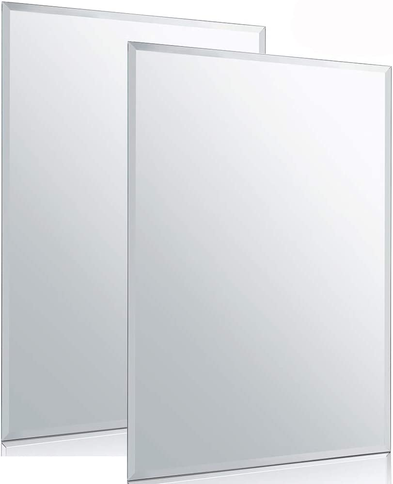 """Chende 2PCS Rectangle Wall Mirror with Beveled Edge, 20"""" x 28"""" Glass Frameless Vanity Mirror for Bathroom, Bedroom, Entryways, Washrooms, Living Rooms"""