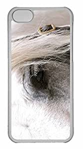 iPhone 5C Case, Personalized Custom White Horse Eye for iPhone 5C PC Clear Case