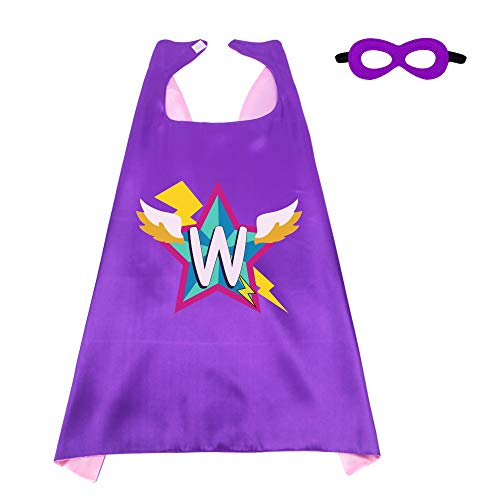 (Superhero-Capes-Masks Kids-Personalized-Costume Birthday-Dress-up-Party with 26 Letter Initial (Letter)