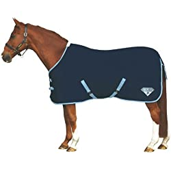 Saxon 600D Standard Neck Lite Turnout Blanket, Navy/Light Blue, Size 78