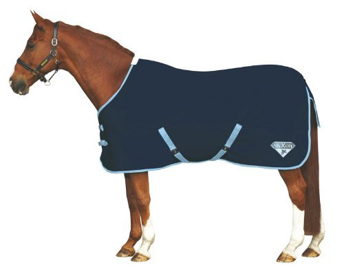 Saxon 600D Standard Neck Lite Turnout Blanket, Navy/Light Blue, Size 69 (Saxon 600d Turnout Sheet)