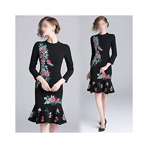 MATCHANT Round Neck Heavy Embroidery Embroidered Ruffled Skirt with Long Sleeves Slim Slimming Dress (Color : Black, Size : L)