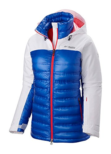 Columbia Jacket Game (Columbia Women's Heatzone 1000 TurboDown Hooded Jacket Small White/Blue Macaw/Laser Red)