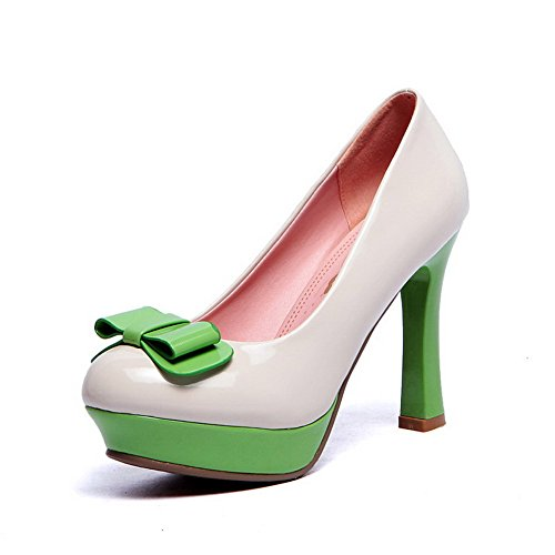 AgooLar Damen Ziehen auf Hoher Absatz PU Gemischte Farbe Pumps Schuhe mit Schleife Weiß