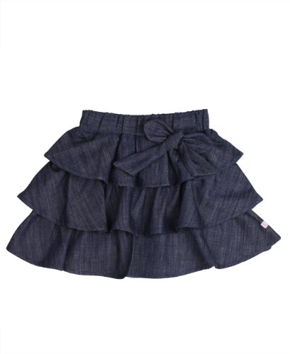 - RuffleButts Baby/Toddler Girls Ruffled Denim Bow Skirt - 18-24m