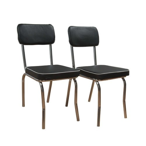 Target Marketing Systems Set Of 2 Retro Upholstered Vinyl Dining Chairs  With Chrome Accents, Black