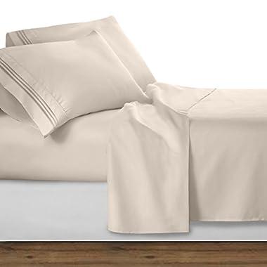 Clara Clark Premier 1800 Series 4pc Bed Sheet Set - Queen, Beige Cream,