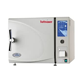 """Heidolph Tuttnauer 3850Ep Autoclave Sterilizer Electronic Model with Printer and 2 Stainless Steel Trays and Stand, 65L Capacity, 15"""" Diameter Chamber, 220V"""