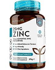 Zink 25 mg - 365 vegan tabletten (voorraad voor 12 maanden) - Zinktabletten met hoge dosis voor het behoud van een normaal immuunsysteem, botten, haar, huid en nagels - Gemaakt door Nutravita