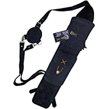 CAROL TRADITIONAL BACK SUEDE LEATHER ARROW QUIVER AQ118A BLACK