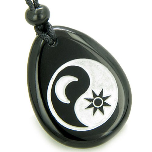 Positive Energy Forces of Nature Sun Moon Ying Yang Amulet Black Agate Pendant (Moon Agate)